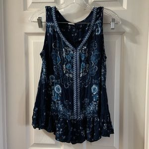 Bila Blue Floral Embroidered Tank Blouse Size S